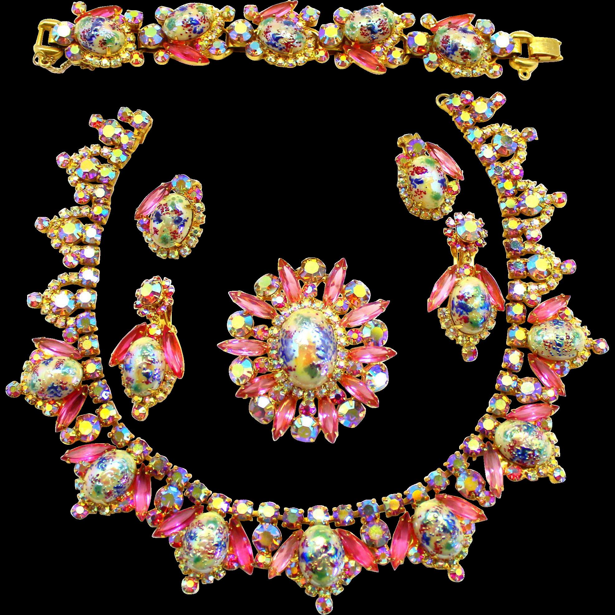 Jewel clipart vintage jewelry. Juliana book piece pink