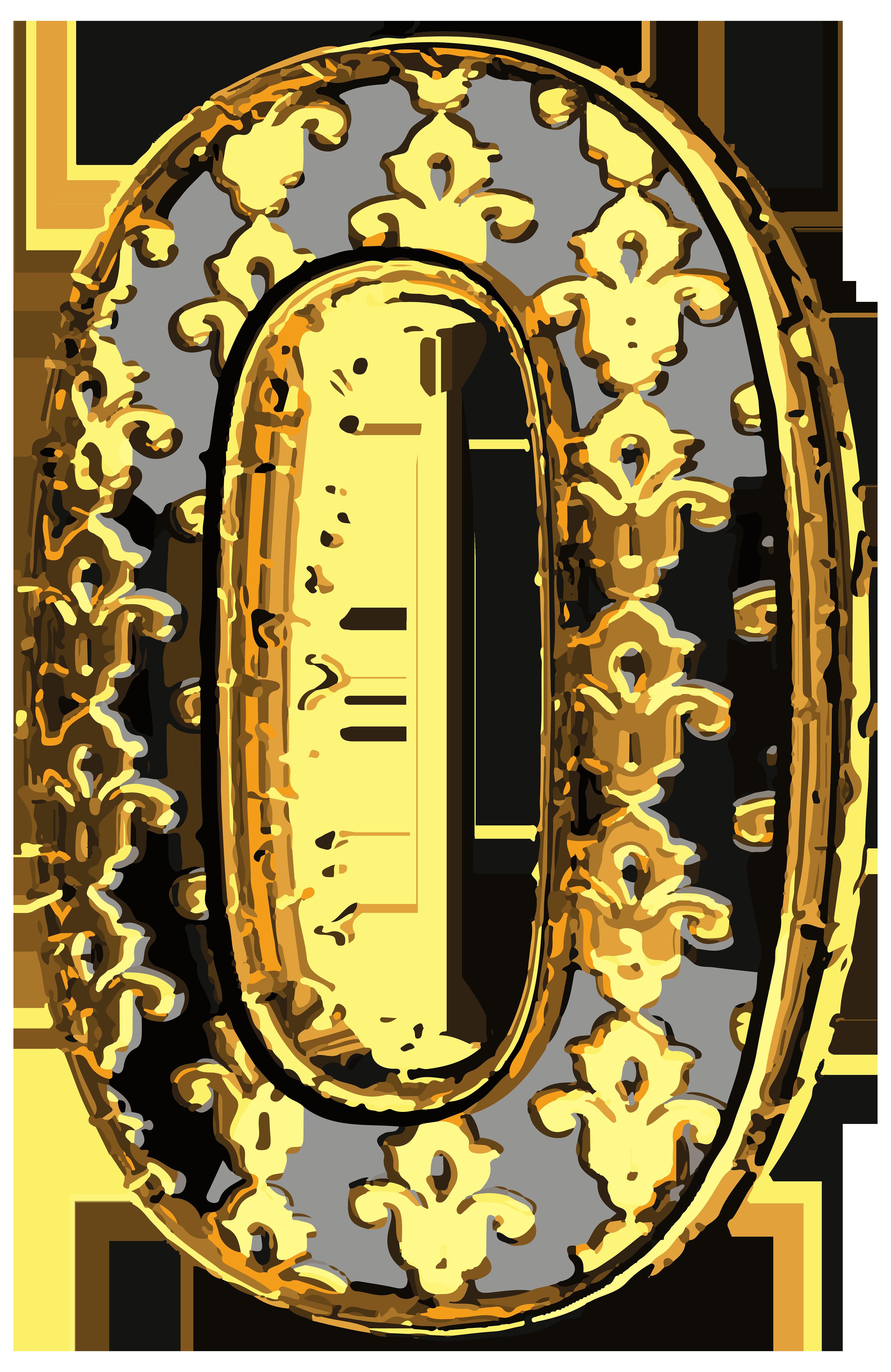 Horseshoe clipart letter. Elegant vintage number zero
