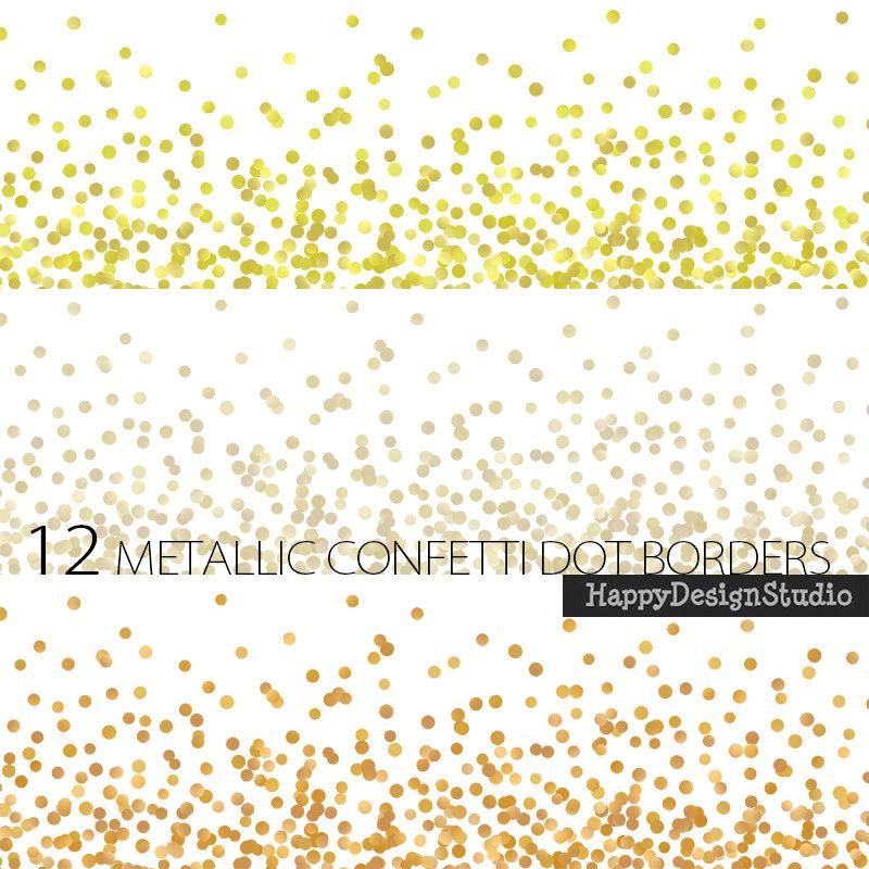 Digital border confetti silver. Glitter clipart gold dot