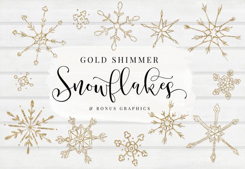 Glitter clipart gold shimmer. Snowflakes bonus designs clip