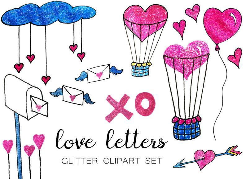 Valentine s hearts letters. Glitter clipart love arrow