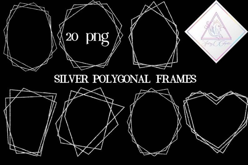 Silver geometric frames polygonal. Glitter clipart modern birthday