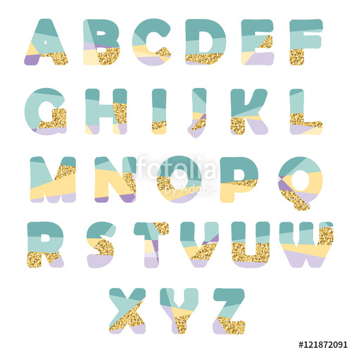 Glitter clipart modern birthday. Abstract font with creative
