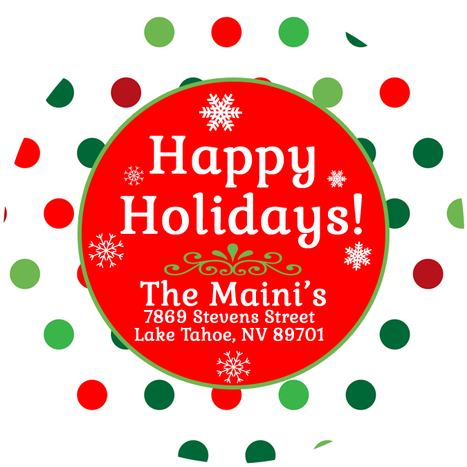 Holiday dots labels . Label clipart polka dot