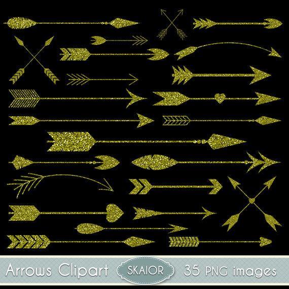 Gold arrows clip art. Glitter clipart vector