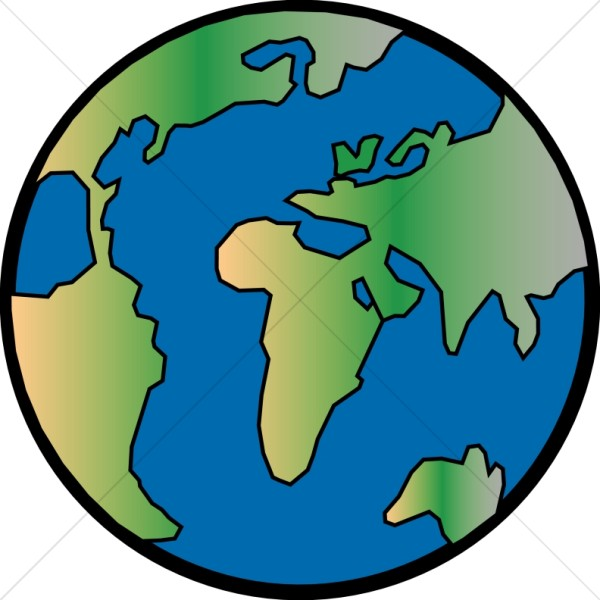 Gradient with black outline. Globe clipart