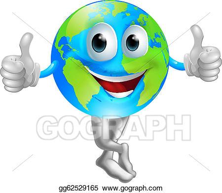 Globe clipart face. Vector cartoon mascot man