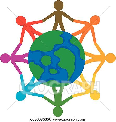 Vector art community people. Globe clipart person