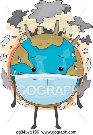 Globe clipart polluted. Vector art earth mascot