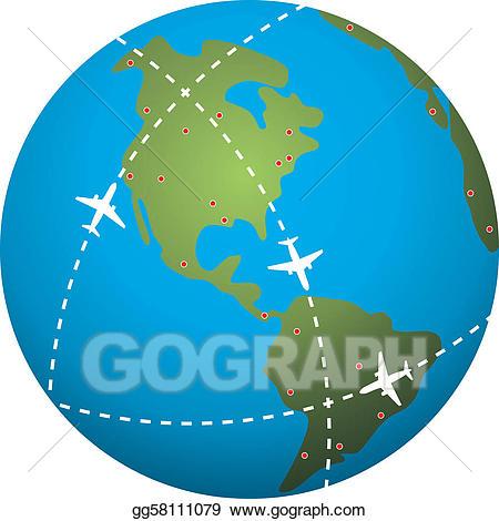 Vector flight paths over. Globe clipart stock