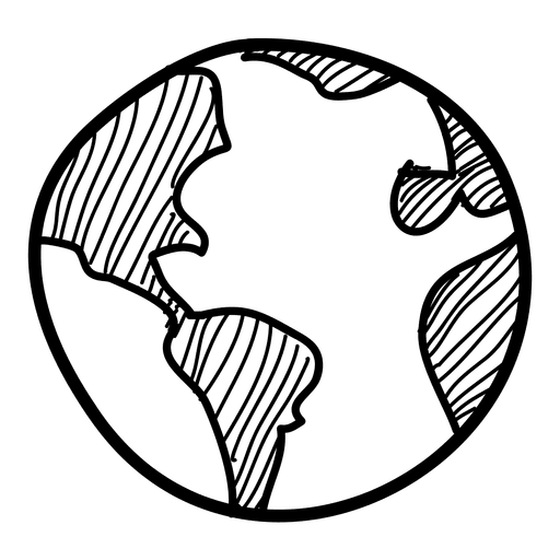 Hand drawn icon transparent. Globe vector png