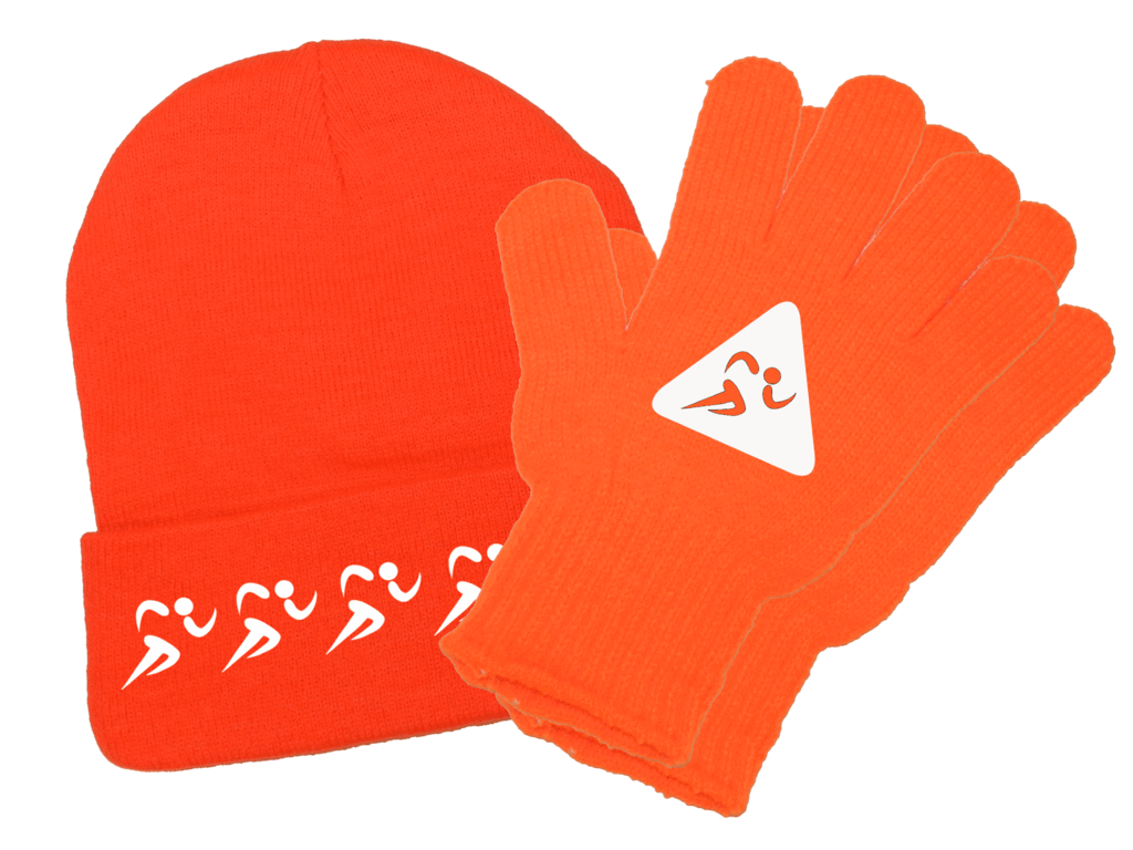 Reflective knit runners high. Glove clipart beanie