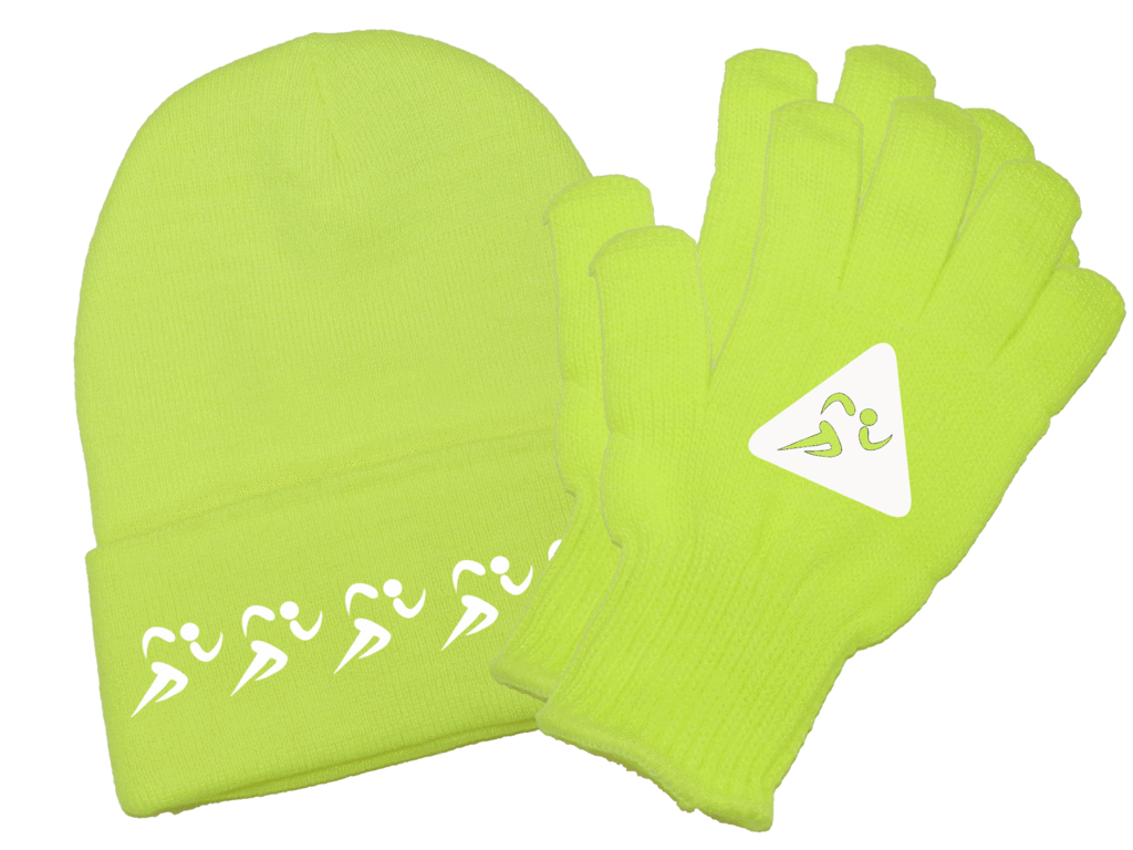 Glove clipart beanie. Reflective knit runners high