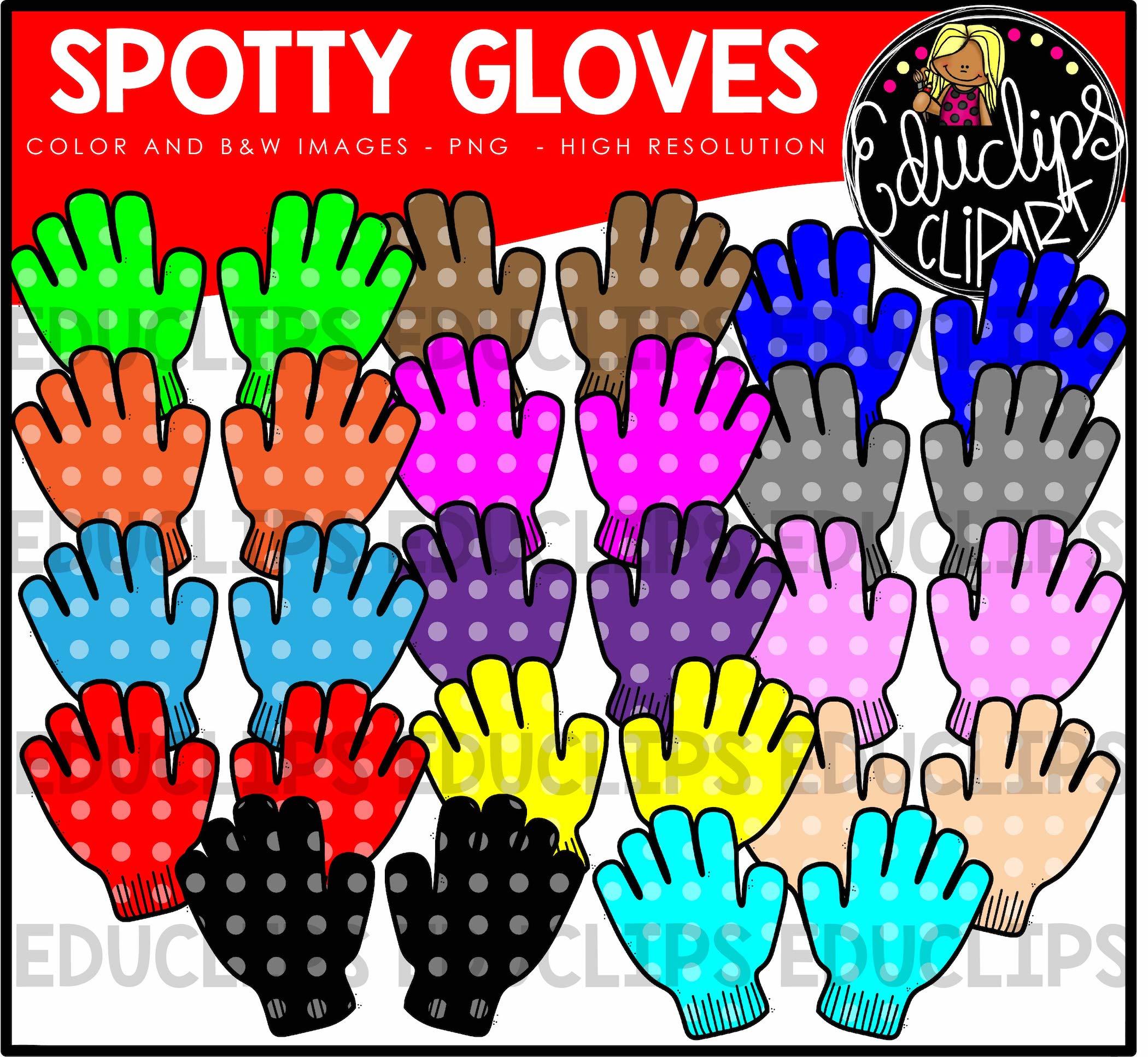 Spotty clip art bundle. Gloves clipart colorful