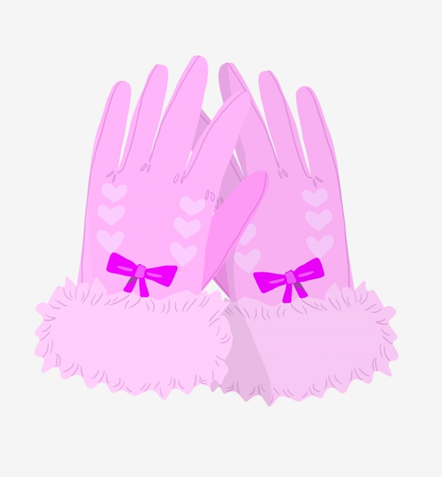 Pink beautiful purple bow. Gloves clipart cute