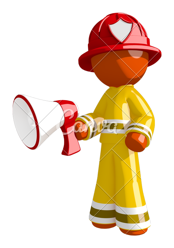 Glove clipart firefighter. Orange man holding megaphone