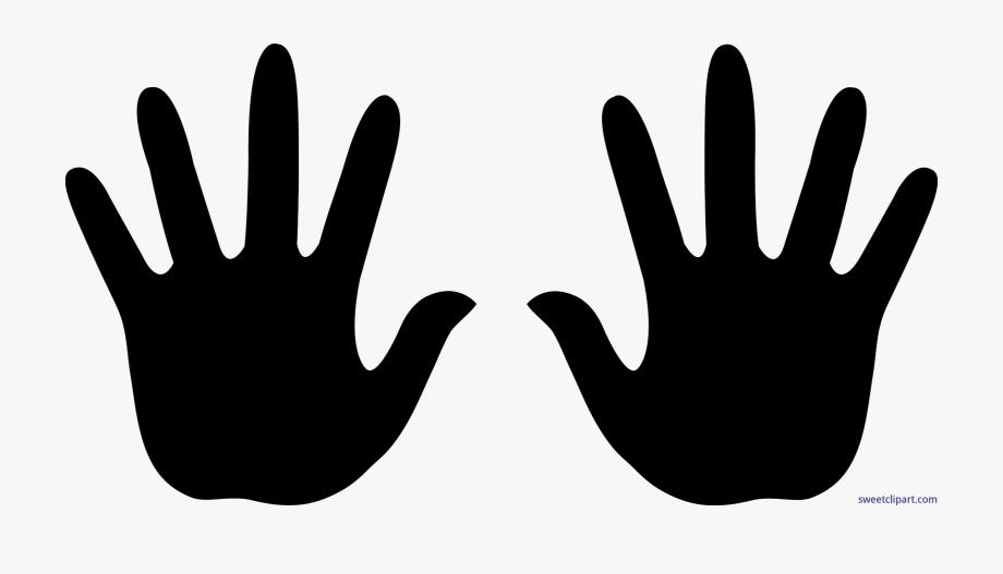 Handprints black clip art. Handprint clipart right