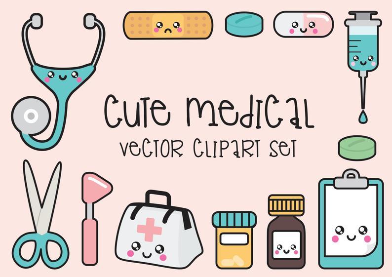 Premium vector clip art. Kawaii clipart doctor