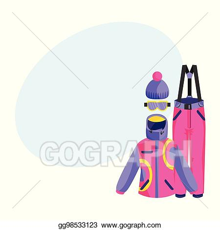 Gloves clipart outfit. Vector illustration skiing snowboarding