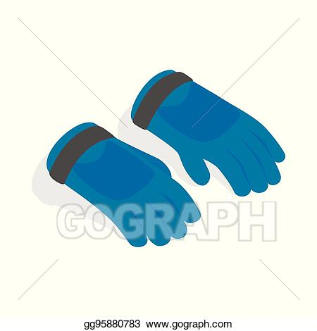 Glove clipart ski glove. Vector blue winter gloves
