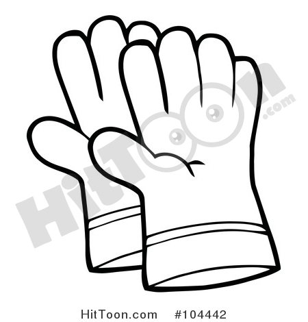 Glove clipart tool. Gardening coloring page outline
