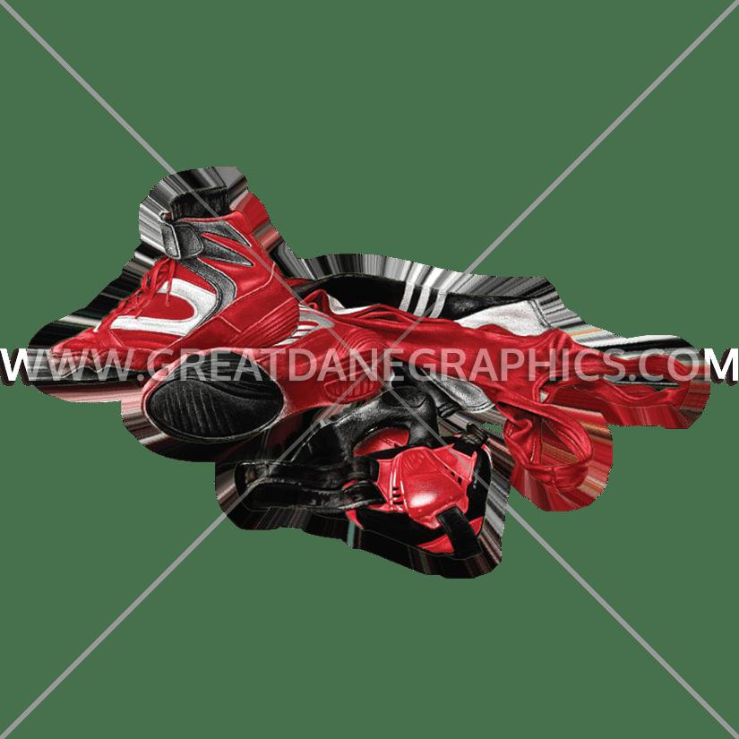 Wrestlers clipart wrestling shoe. Gear production ready artwork