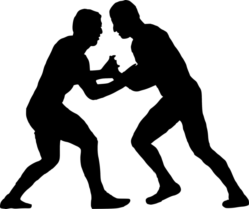 Sport wrestling silhouette png. Wrestlers clipart black and white