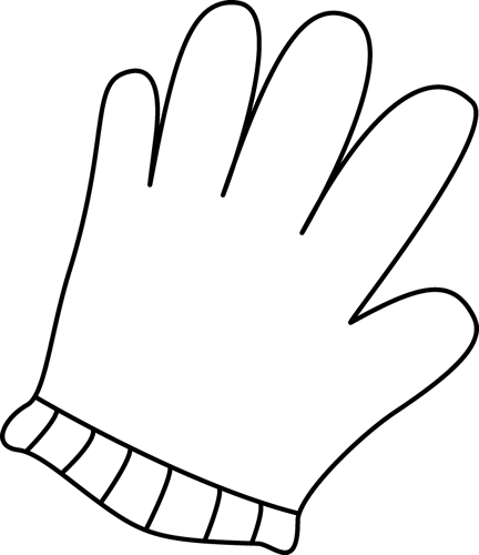 Glove clip art panda. Gloves clipart black and white
