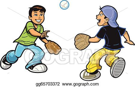 Eps illustration boys playing. Gloves clipart catch