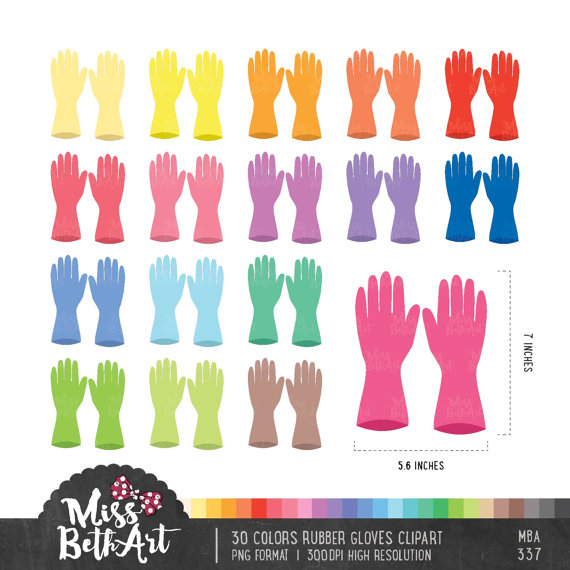 colors rubber cleaning. Gloves clipart colorful