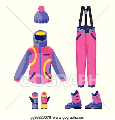 Vector illustration skiing snowboarding. Gloves clipart outfit