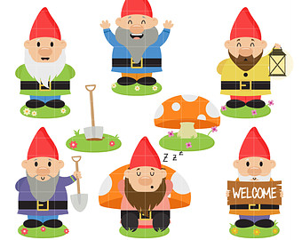 Gnome clipart. Etsy happy garden gnomes