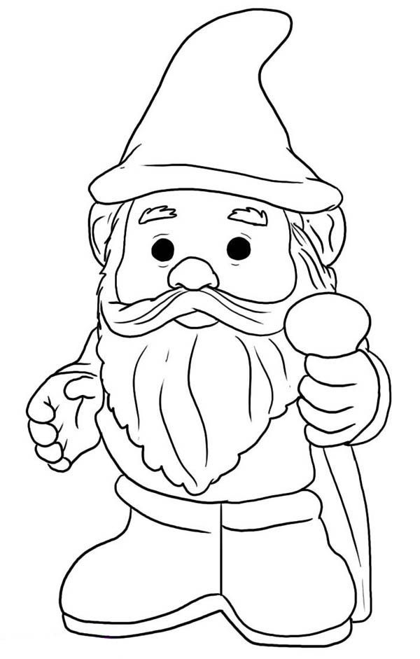 With pointy hat coloring. Gnome clipart color