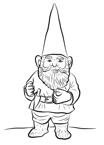 Garden coloring page free. Gnome clipart color