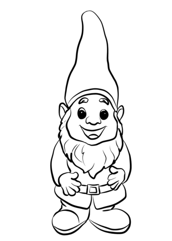 Gnome clipart color. Cute coloring page free