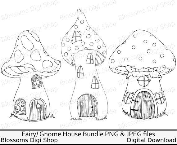 Mushroom bundle png digital. Gnome clipart fairy house