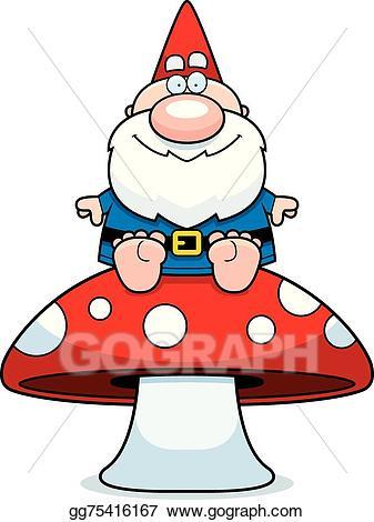 Vector illustration cartoon eps. Gnome clipart mushroom