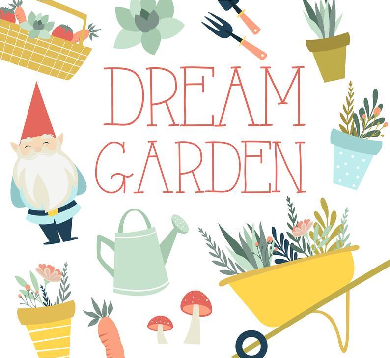 Gnome clipart simple garden. Cute flower illustrations digital