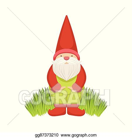 Gnome clipart simple garden. Vector illustration standing on
