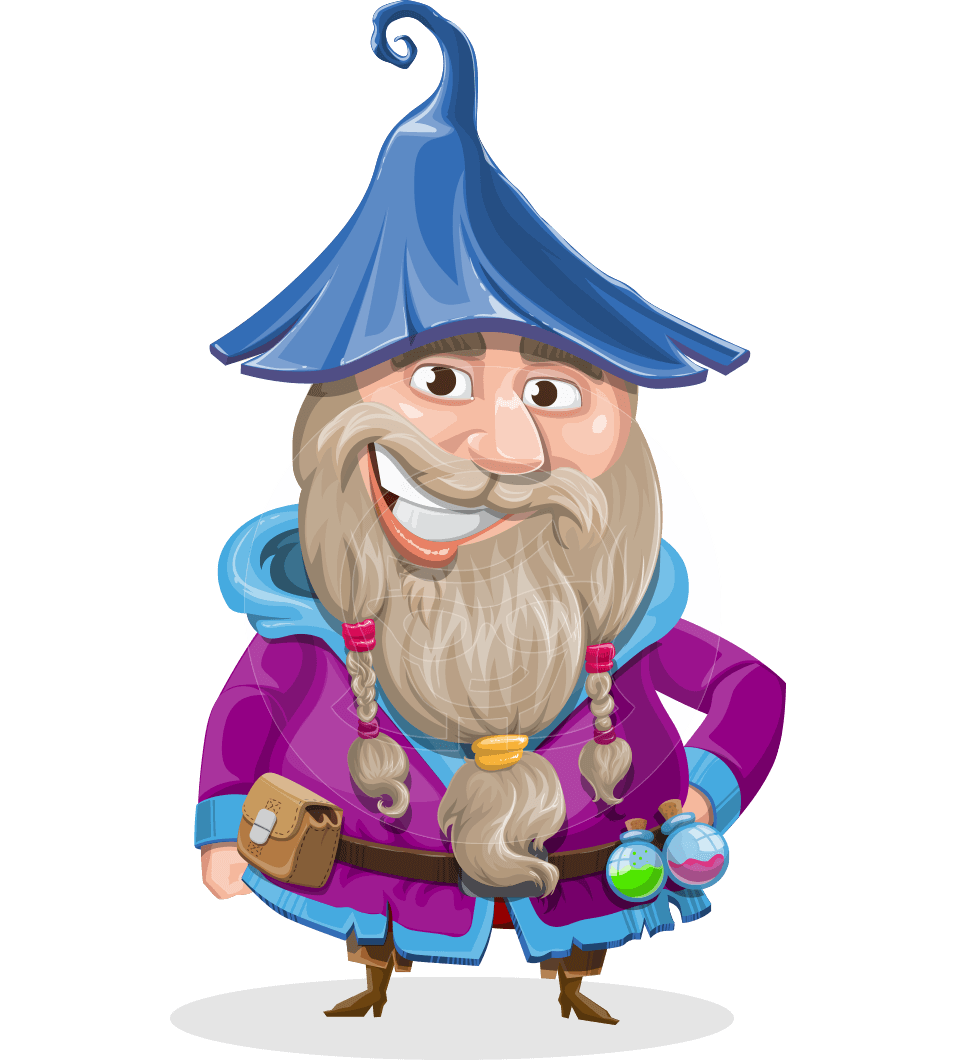 Old male wizard character. Magic clipart vector png