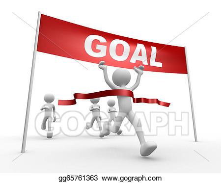 Goal clipart goal line. Stock illustration d people