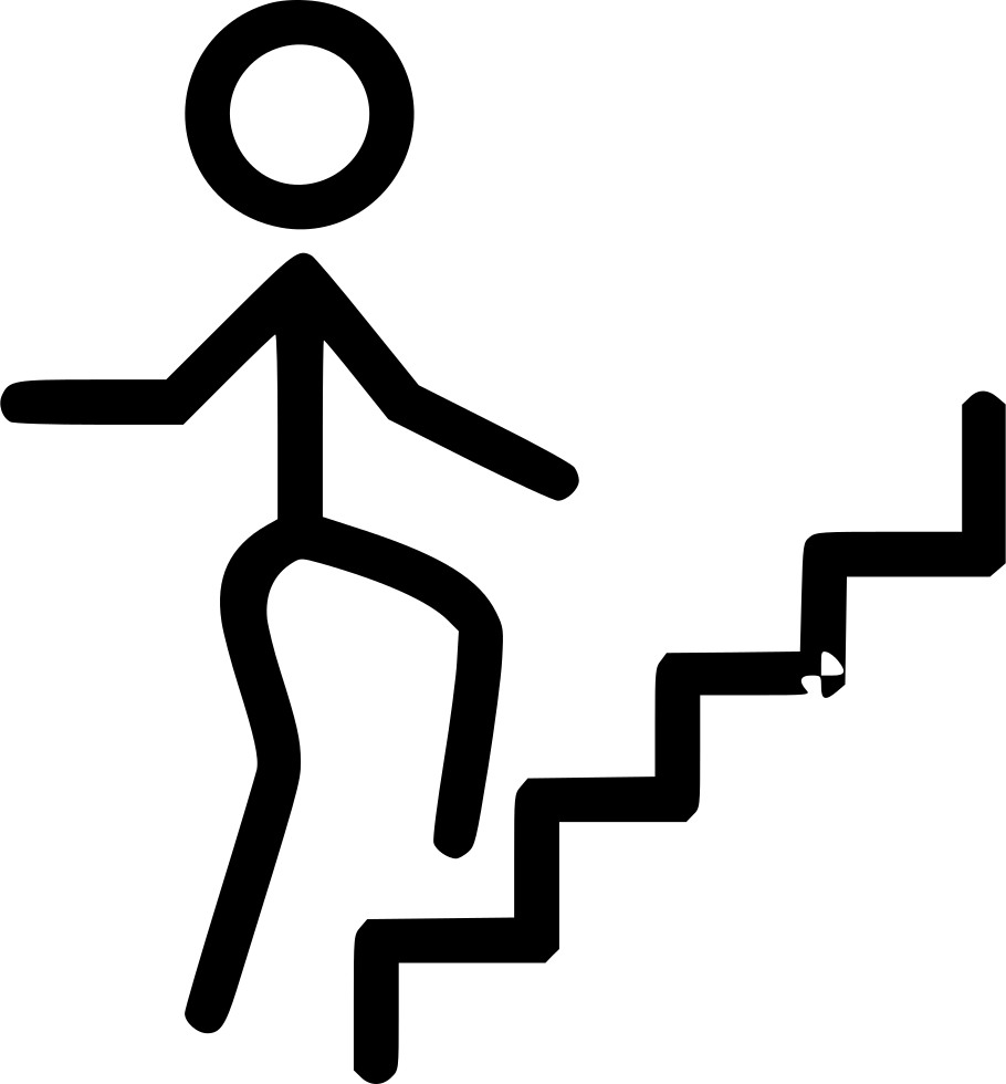 Staircase clipart climb stair. Person climbing stairs svg