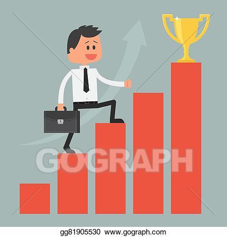 Vector stock businessman climbing. Ladder clipart goal