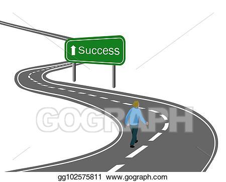 Goals clipart journey road. Stock illustration man walking