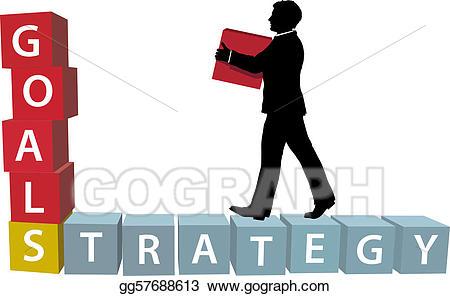 Goals clipart strategy. Eps illustration man builds
