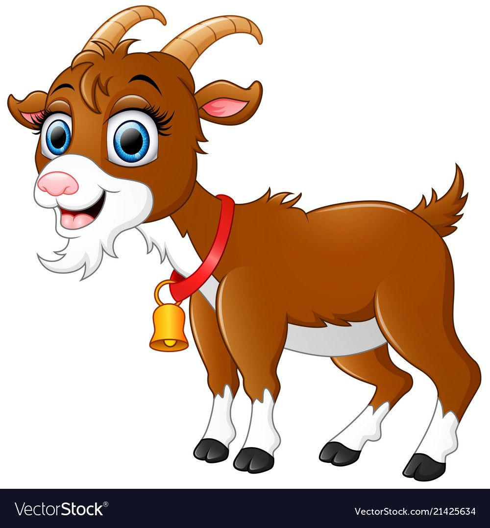 Goat clipart brown goat. Cute cartoon royalty free