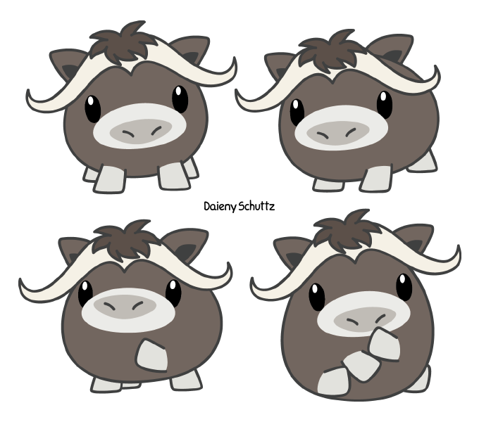 Ox clipart cute. Chibi muskox by daieny