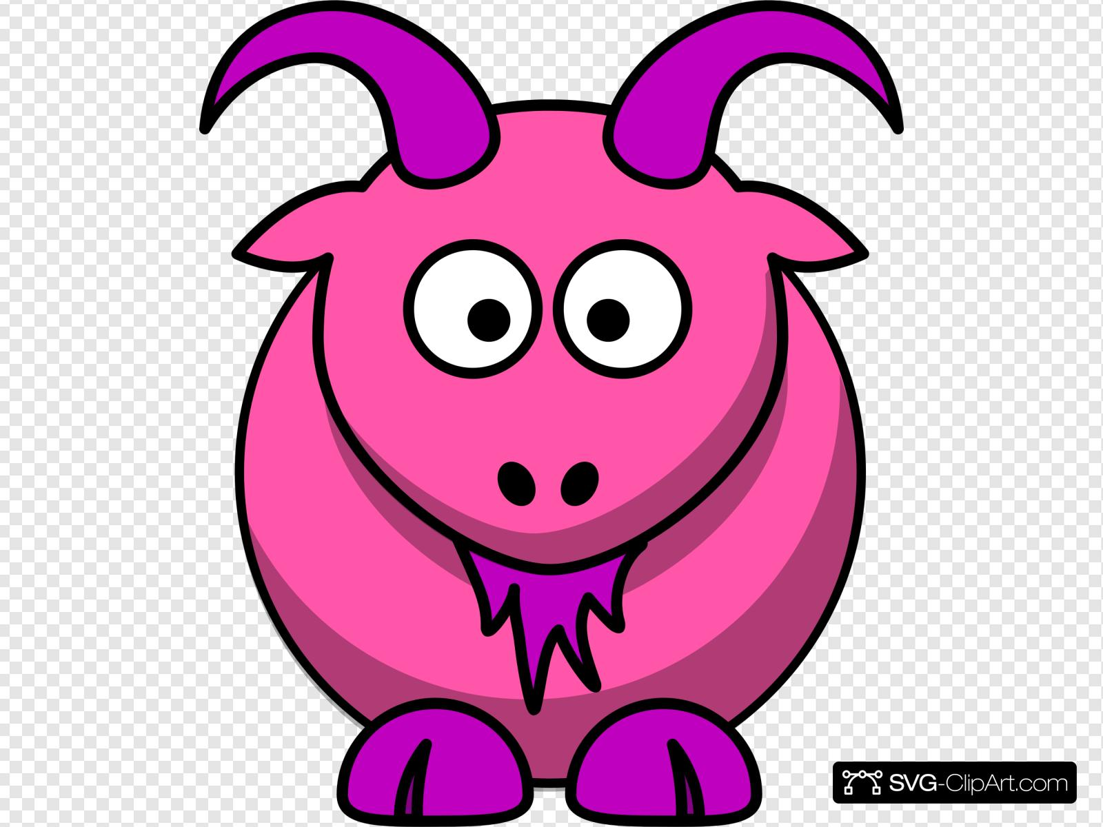 Clip art icon and. Goat clipart pink