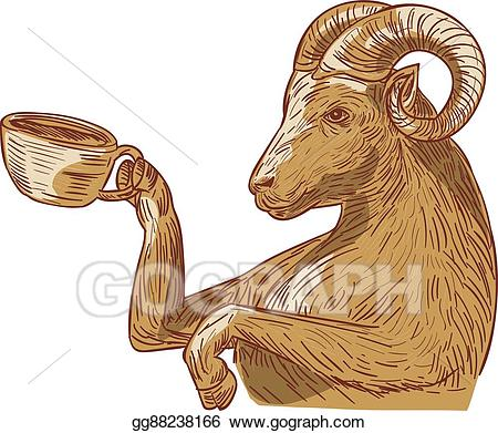 Vector illustration drinking coffee. Goat clipart ram