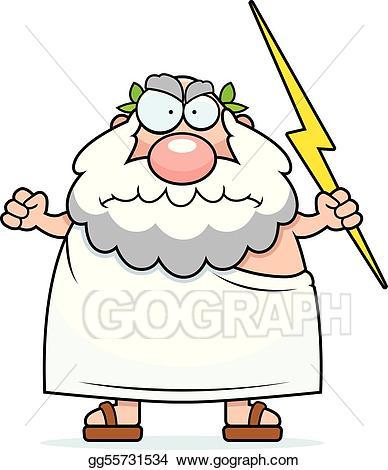 Eps vector greek stock. God clipart angry god